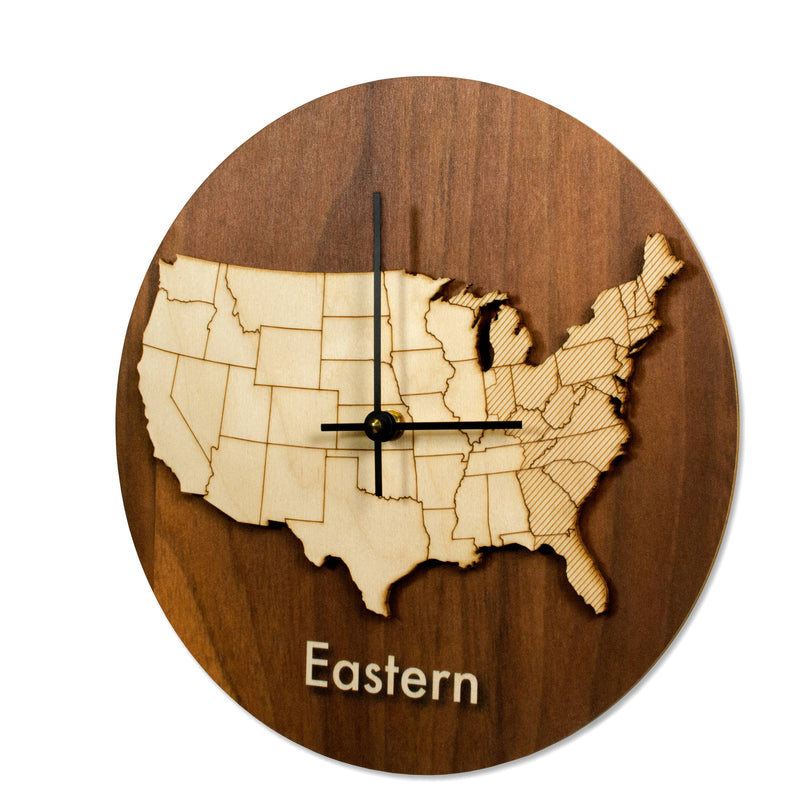 Wood Time Zone Clock-Eastern-Clearence