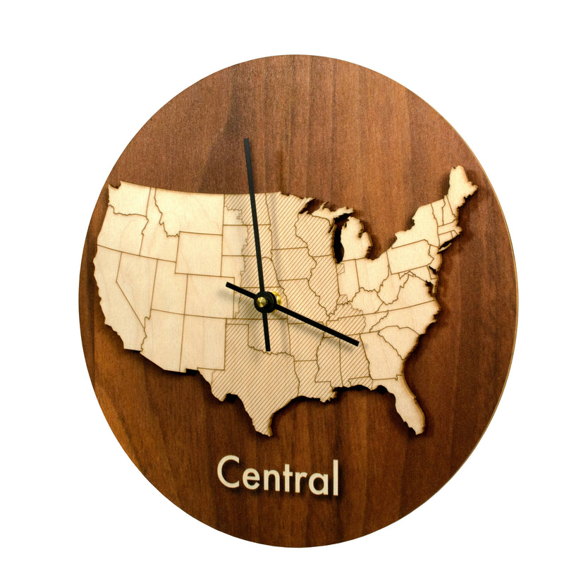Wood Time Zone Clock-Central-Clearence