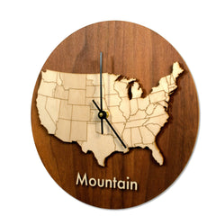 Wood Time Zone Clock-Mountain-Clearence
