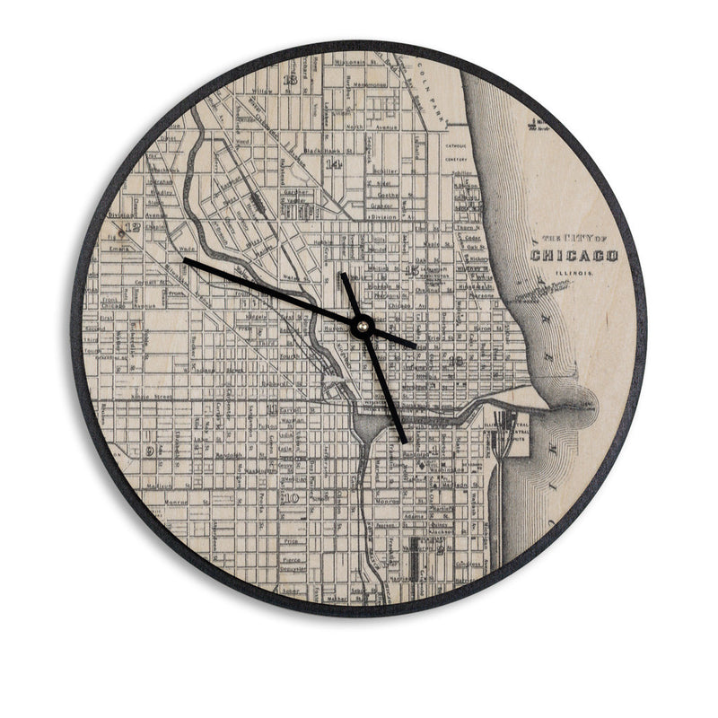 Wall Clock Birch-Chicago Print-Clearence