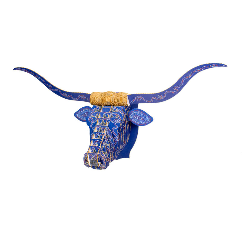 Leah Yellowbird Cardboard Printed Animal Heads- Longhorn