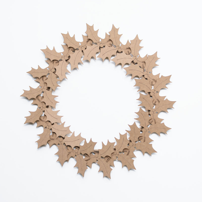 Cardboard Holly Wreath