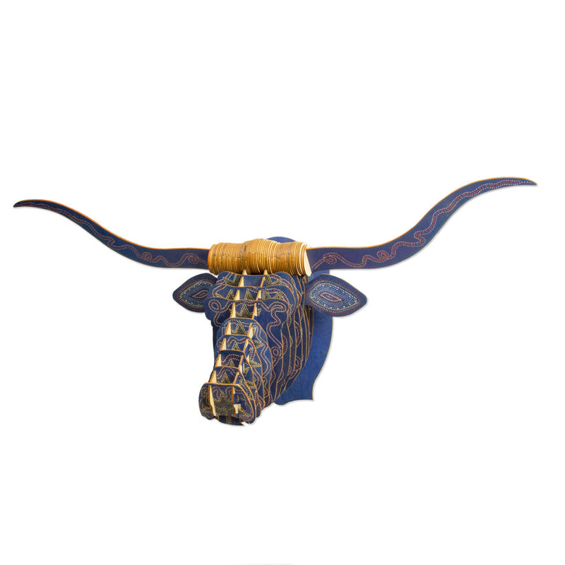 Leah Yellowbird Birch Printed Animal Heads- Longhorn