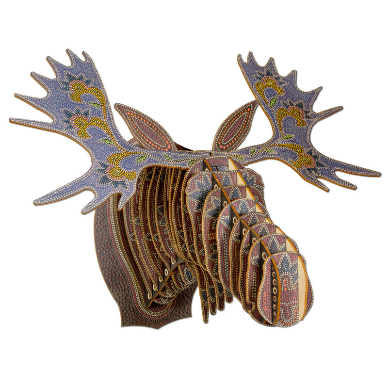 Leah Yellowbird Birch Printed Animal Heads- Moose