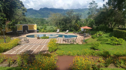 IMAGE:  Hotel Villa Florencia near Turrialba, Cartago, Costa Rica.  Our home whilst in the Turrialba region (the pool is great for roll instruction!)