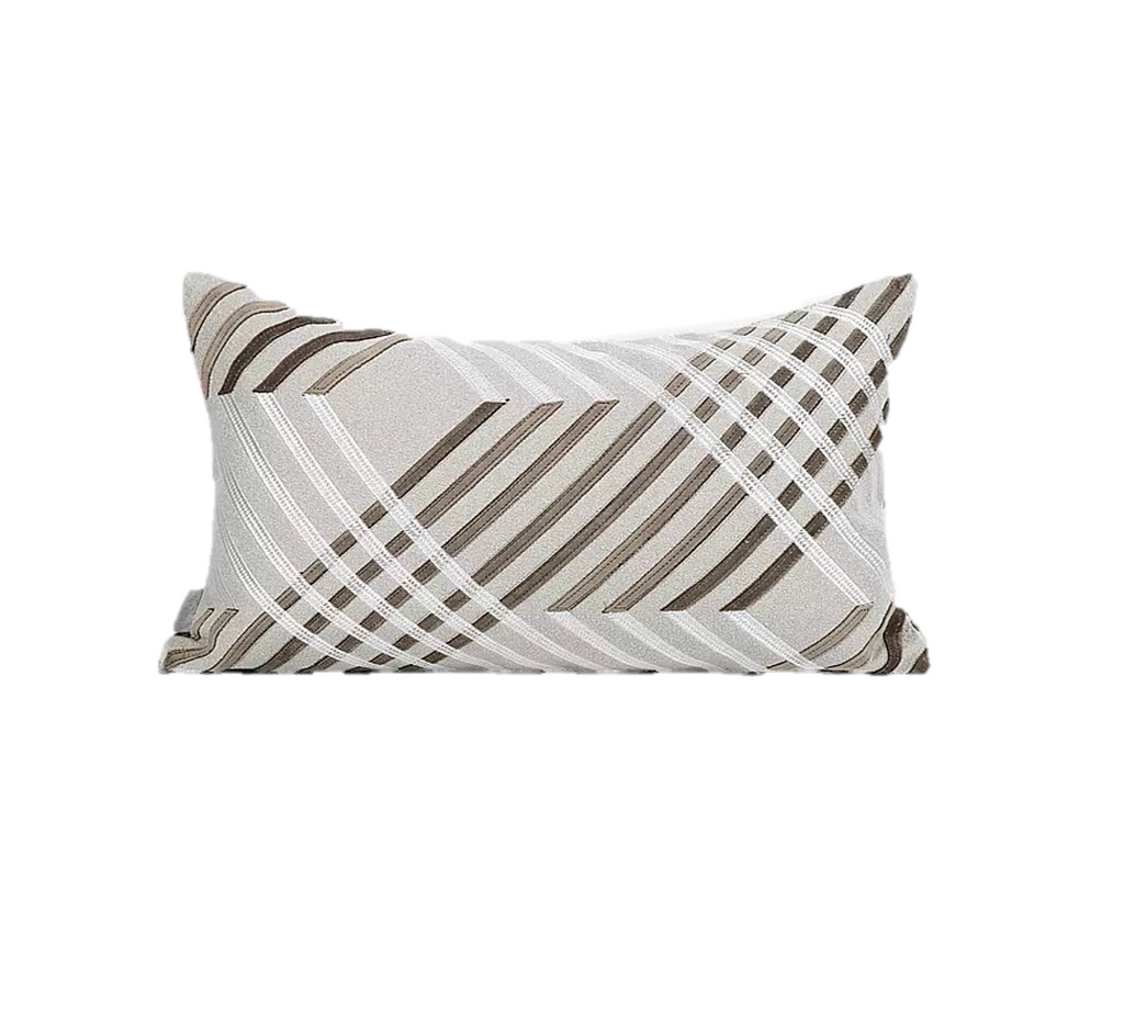 Avery Neutral Striped Cushion 30x50cm