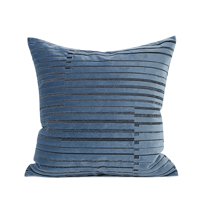 Smurf Striped Velvet Cushion Grey