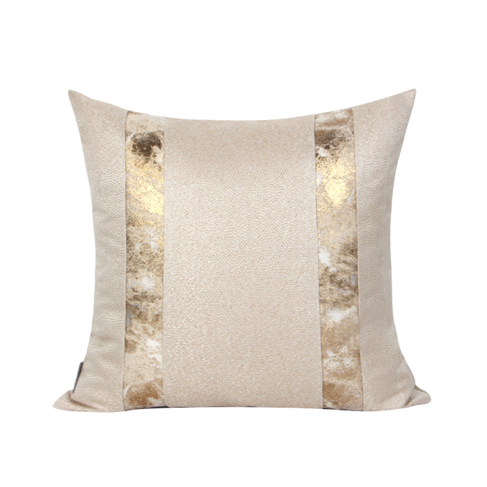 Athena Ecru Cushion With Marble Golden Stripes