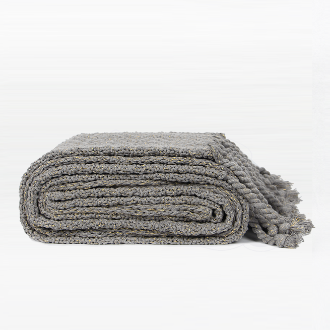 BROOKLYN Knitted Cotton Grey Blanket