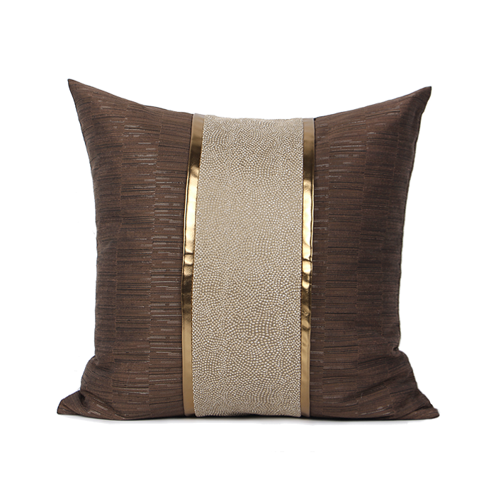Choco Dark Brown Golden Stripe Cushion