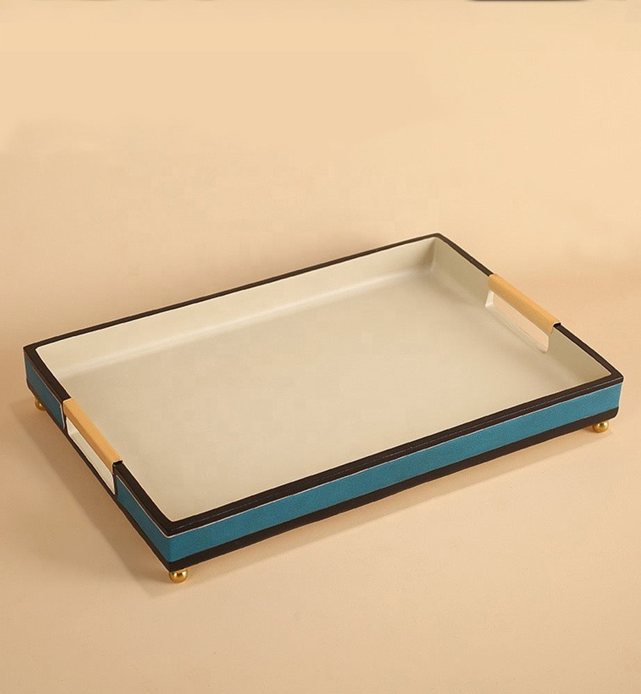 Rio Leather & Resin Tray - Blue