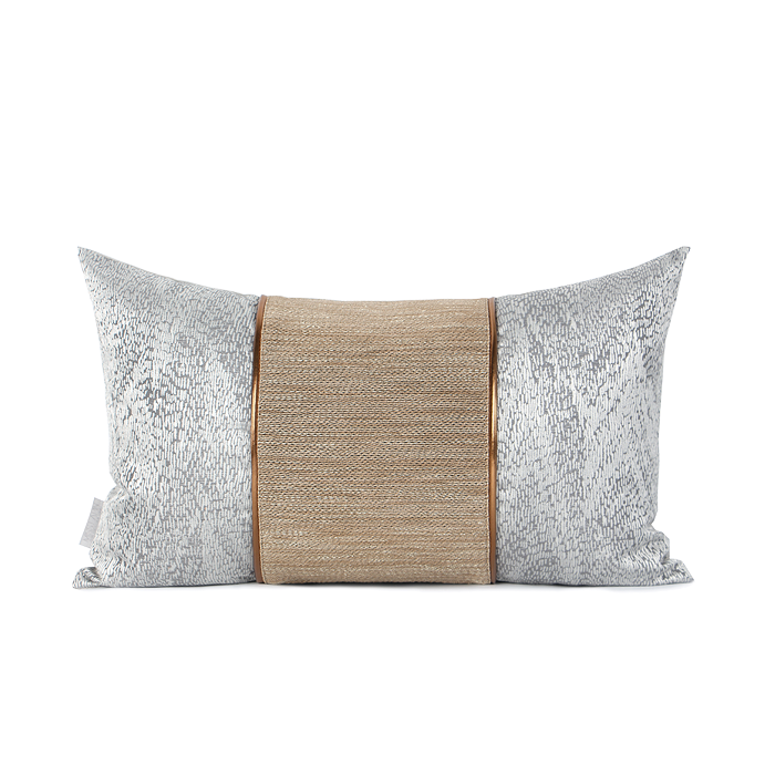 Leto Grey And Gold Jacquard Cushion