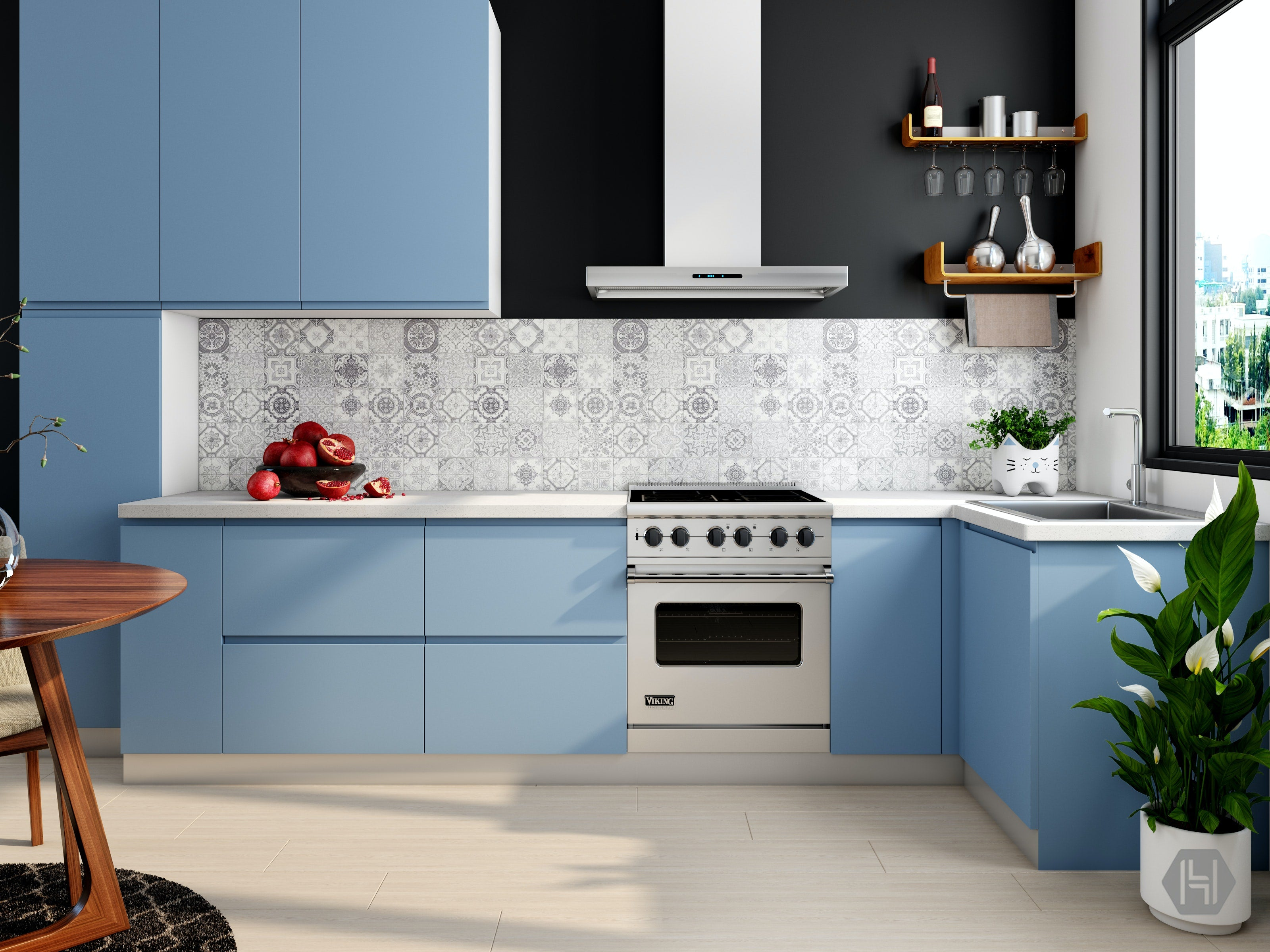 fashionable blue has touched the hearts of thousands of fashionable housewives