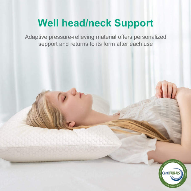 ADORIC pillow, made of pressure-equalizing visco-gel foam (memory foam) with environmentally friendly pillowcase(EU)