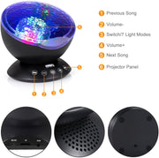 Adoric Ocean Wave Night Light Projector 12 LED & 7 Colors Kids Night Light with Built-in Mini Music Player and Remote Control for Living Room Bedroom