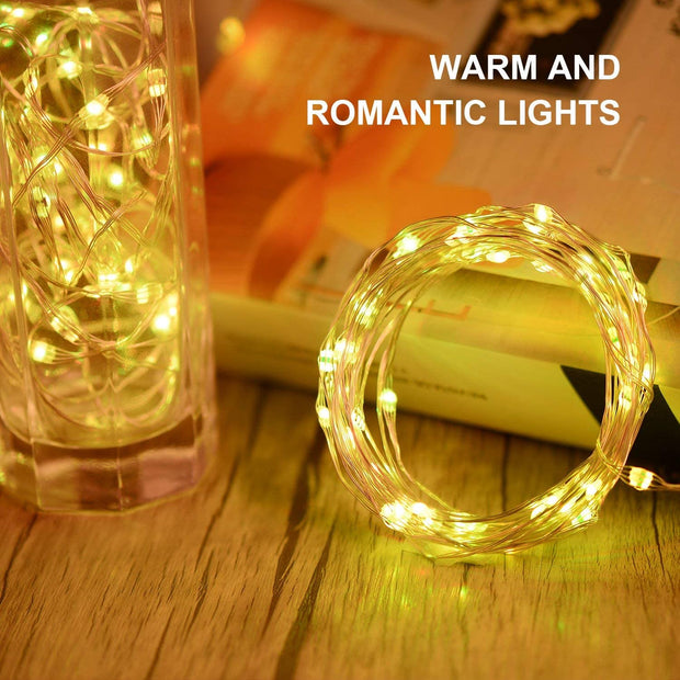Fairy Lights Battery Operated String Lights SUNNEST 2 Set 16.4FT 50 LEDS 16 Colors Waterproof Timer Twinkle Lights 24-Key Remote Control for Christmas Wedding Party Garden Patio Indoor Room Decor