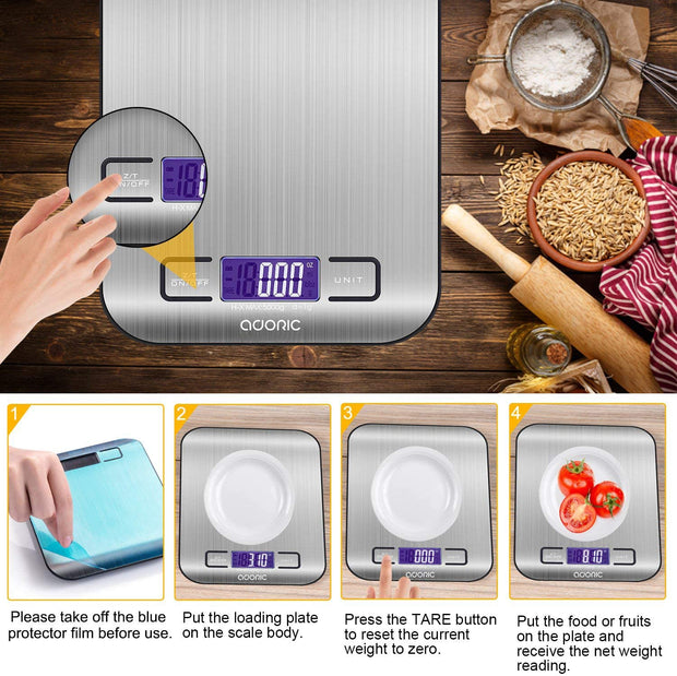 ADORIC kitchen scale with LCD display
