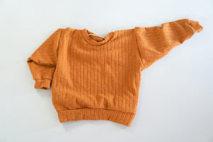 12-18 Camel Ribbed Lounge Sweater