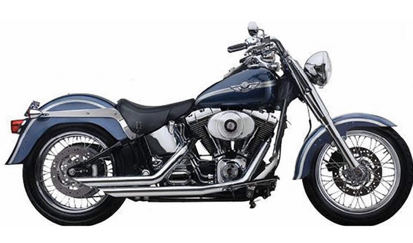 "2-1/4"" Softail exhaust pipes featuring vertical slash"