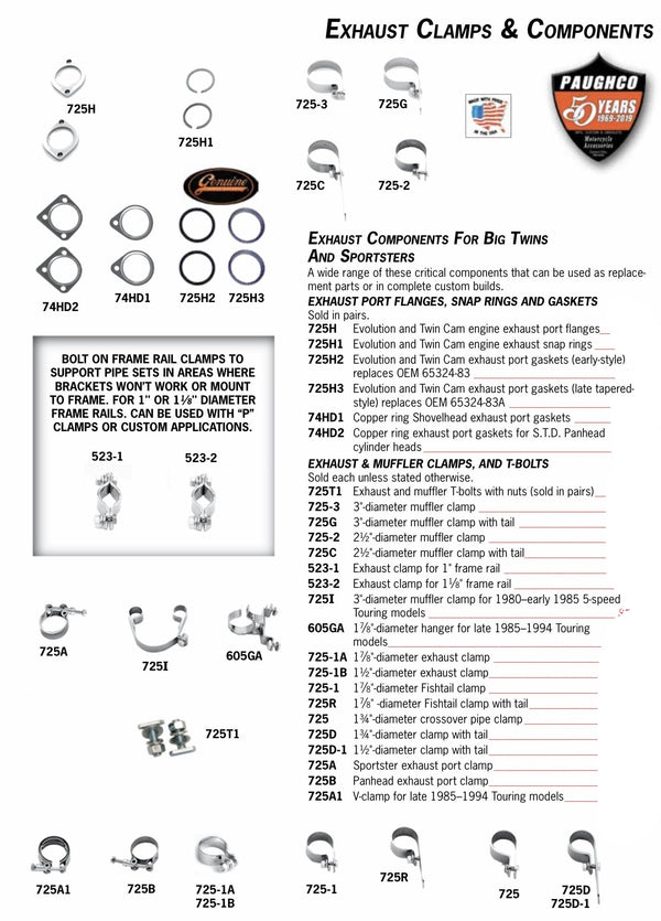 725 Series EXHAUST PORT FLANGES, SNAP RINGS, AND GASKETS