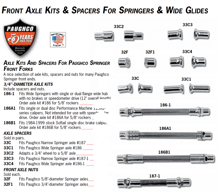 Axle Kits And Spacers For Paughco Springer Front Forks
