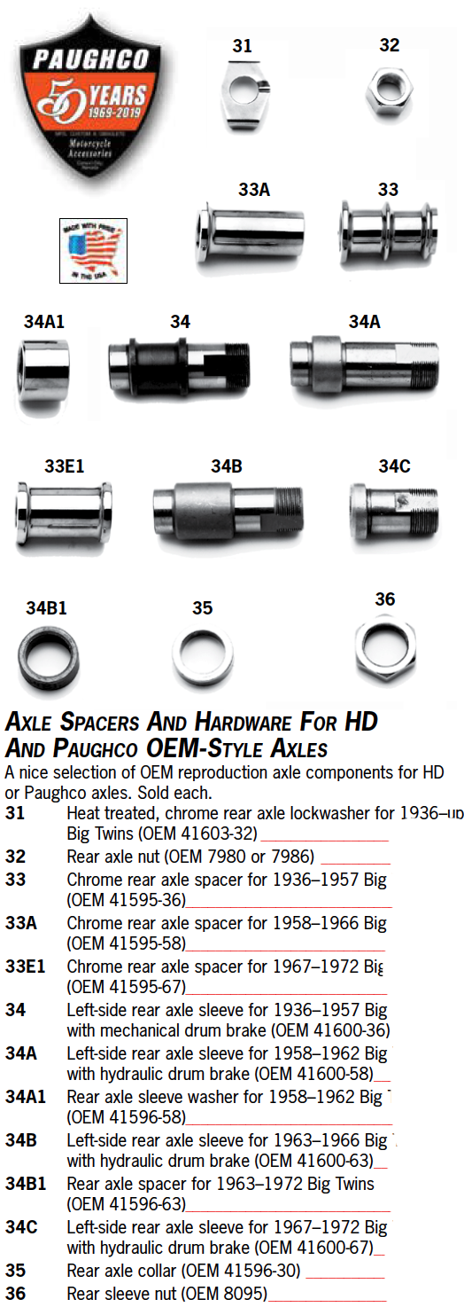 Axle Spacers And Hardware For HD And Paughco OEM-Style Axles