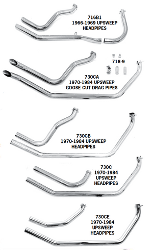 Shovelhead Upsweep Exhaust Systems For 1966 - 1984 In Rigid Frames