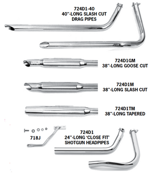 Shovelhead Shotgun Exhaust Systems For 1966 - 1969 Swingarm Frames