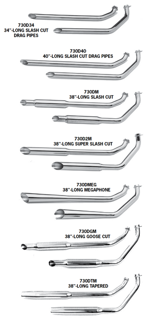 Shovelhead Shotgun Exhaust Systems For 1970 - 1984 Engines In Rigid Frames