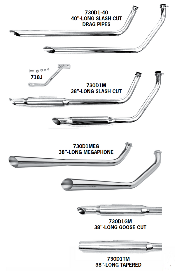 Shovelhead Shotgun Exhaust Systems For 1970 - 1984 Engines In Swingarm Frames
