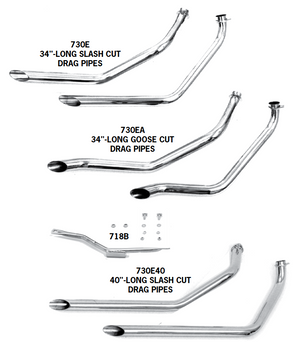 FX Model Shovelhead Staggered Dual Drag Pipes For Swingarm Frames