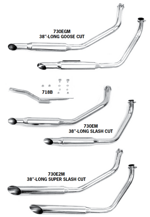 FX Model Shovelhead Staggered Dual Exhaust Systems For Swingarm Frames