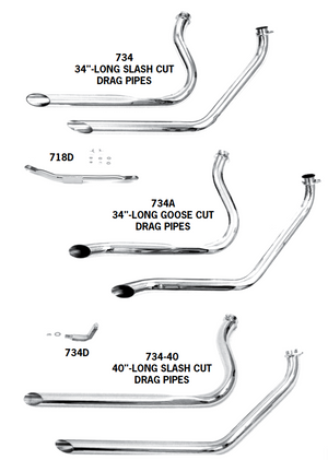 Staggered Dual Drag Pipes For 1970 - 1984 Shovelhead FL Models With Kick Or Electric Start