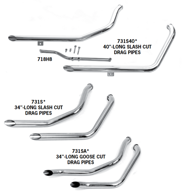 Drag Pipe Sets For 1984 - 1999 Evolution Softails