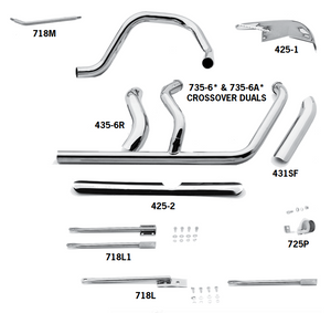 Crossover Headpipes For 1987 - 1999 5 Speed Evolution Softails