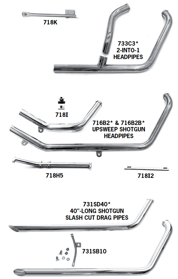 Evolution Softail Headpipe Sets And Shotgun Exhaust Systems For 1984 - 1999