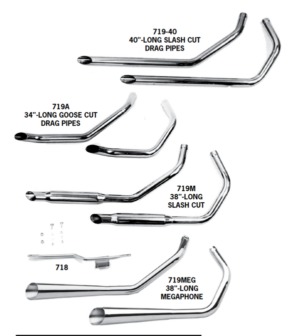 Staggered Dual Exhaust Systems For 1957 - 1985 Sportsters