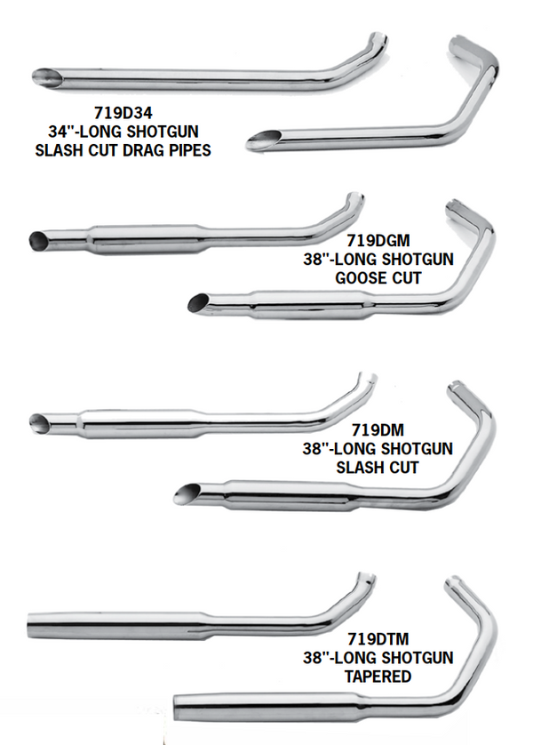 Shotgun Exhaust Systems For 1957 - 1985 Sportster Engines In Rigid Frames