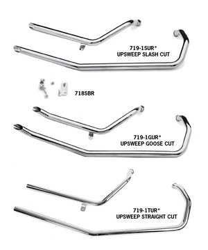 Upsweep Exhaust Systems For 1986 - 2003 Evolution Sportster Engines In Rigid Frames