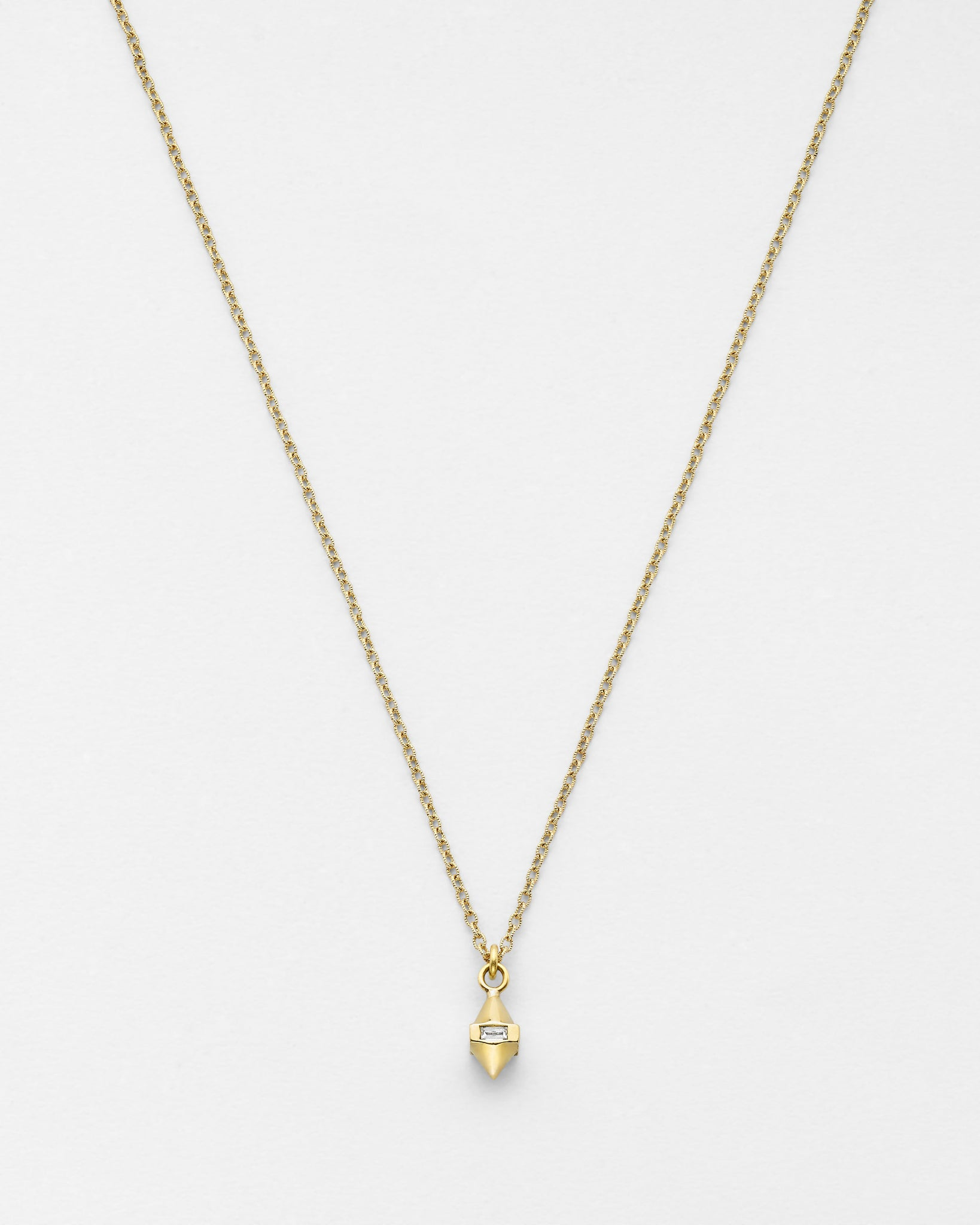 Chain Reaction Baguette Pendulum Necklace