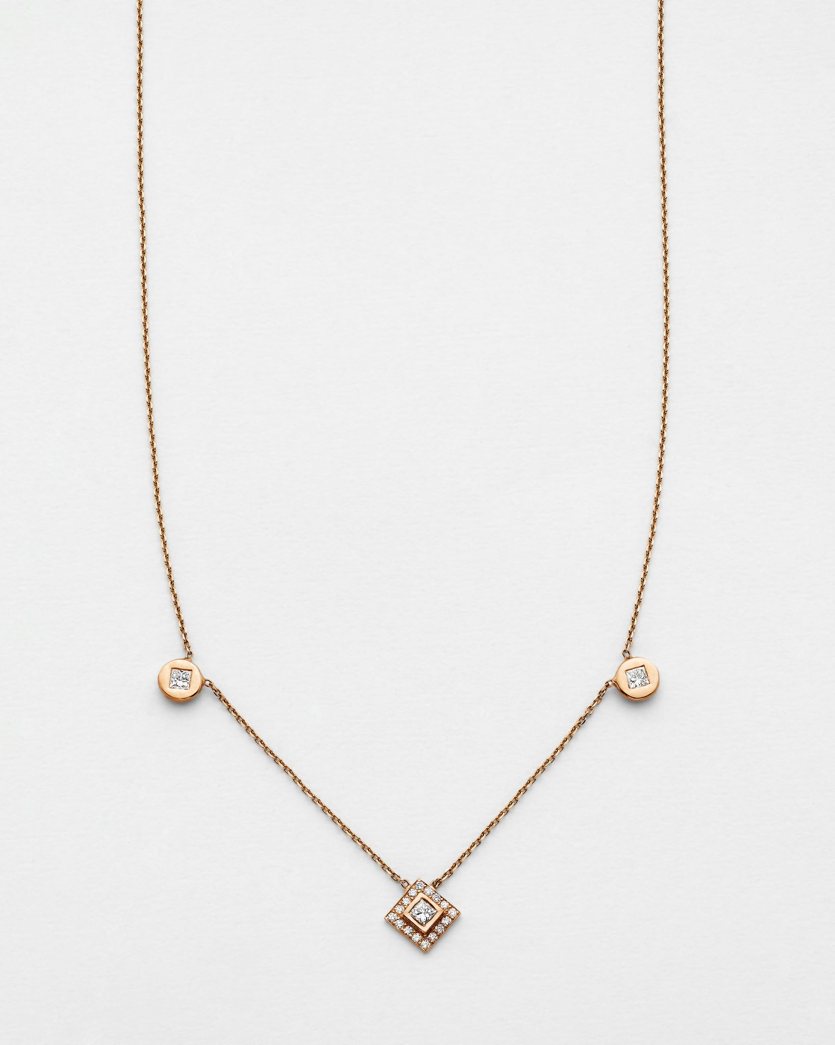 Chain Reaction Medallion and Princess Pave Necklace