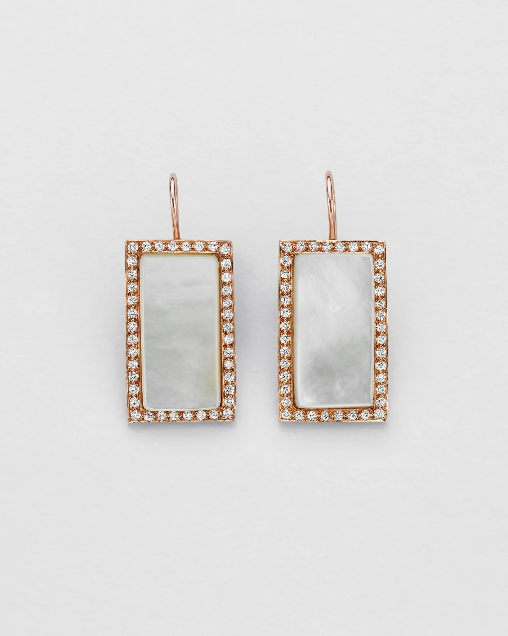 Diamond Encompassed Mother of Pearl Earrings