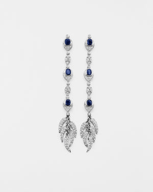 Sapphire Leaf Earrings