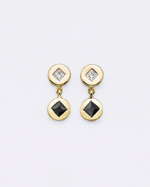 Black Diamond Double Medallion Earrings