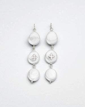Trio Pearl Coin Earrings