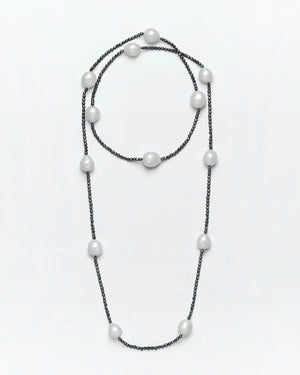 Strung Out South Sea & Charcoal Diamond Necklace