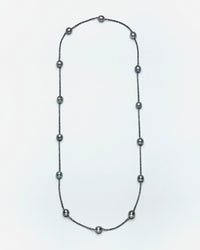 Strung Out Tahitian & Charcoal Diamond Necklace