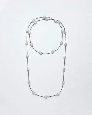 Strung Out  South Sea & Charcoal Diamond Long Necklace