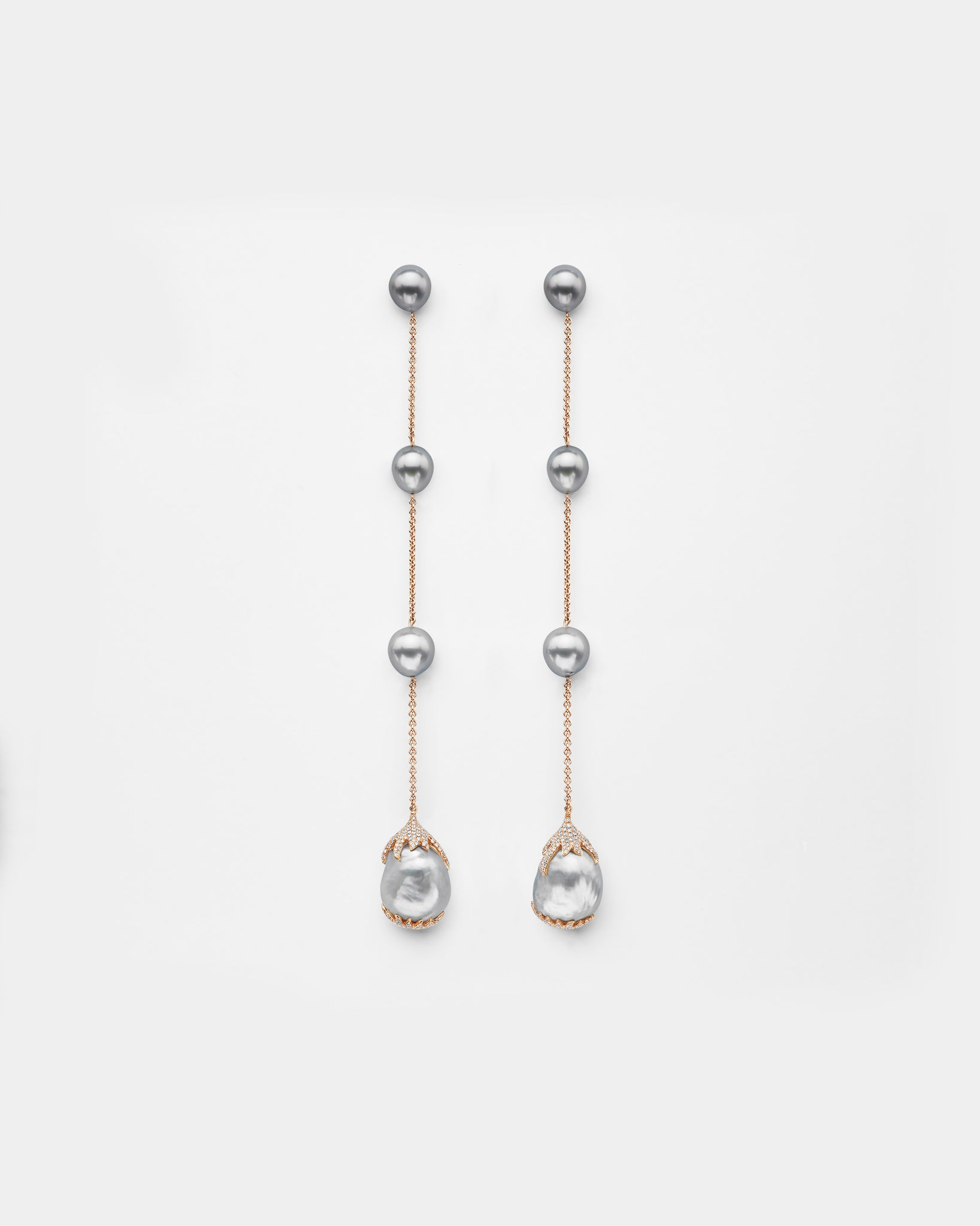 Diamond Encrusted Shoulder Duster Pearl Earrings