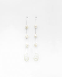 Shoulder Duster Diamond Post Pearl Earrings